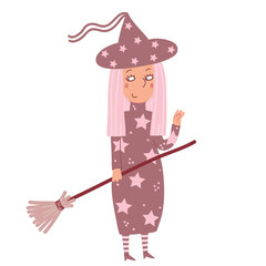 Funny witch with pink hair and a broom on Halloween
