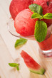 Dessert of watermelon and mint
