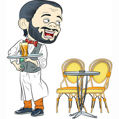Vector Cheerful waiter with a tray in cafe