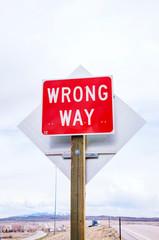 Wrong way sign at a highway