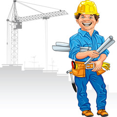vector cheerful engineer builder in the yellow helmet with the d