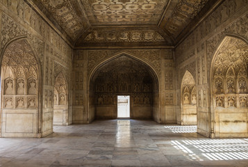 Detailed art inside Agra Fort India