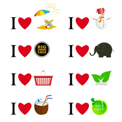 i love different things vector illustration