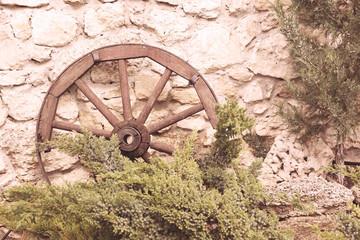 Old retro wheel, outdoors