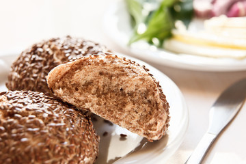 Healthy homemade rolls with linseed
