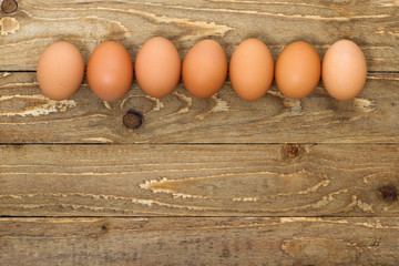 Eggs on a wooden background