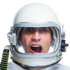 Man wearing vintage space helmet