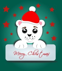 Polar bear with label Merry Christmas