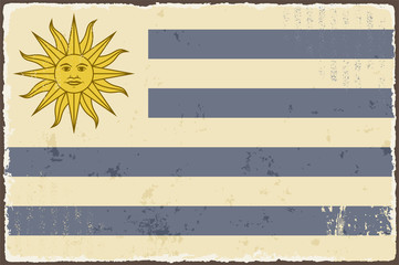 Uruguayan grunge flag. Vector illustration