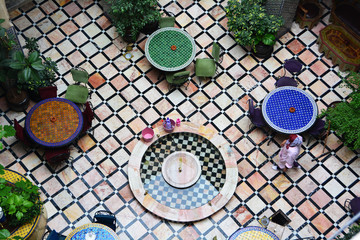 Moroccan Riad Inner Yard from the Roof