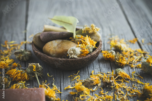 Spa with marigold flower