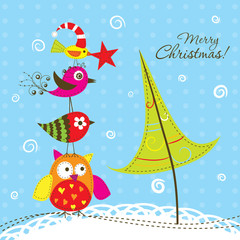 Template Сhristmas greeting card, vector