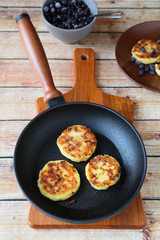 cheese pancakes in pan