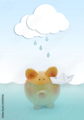 Poster Piggy bank drowning in water, with paper cloud raining above