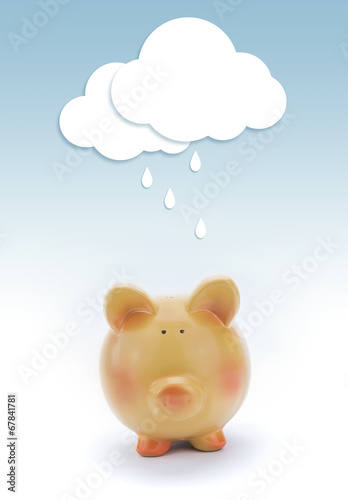 Poster Piggy bank with paper cloud and rain above.