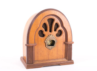 retro radio on isolated white background