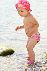 baby girl in sea