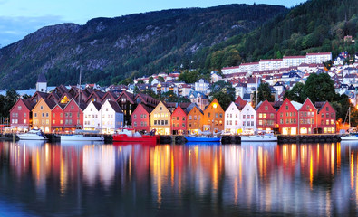 Bergen night view Cityscape reflection