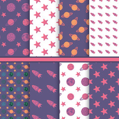 Set of seamless patterns with space, planets, stars - childish v
