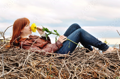 girl with autumn flower