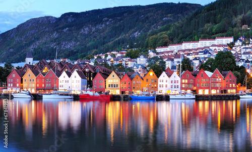 Bergen night view Cityscape reflection - 67841983