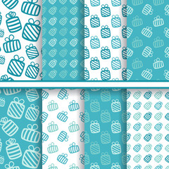 Set of seamless vector bright blue patterns with gifts