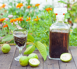 Healthy homemade walnut liqueur