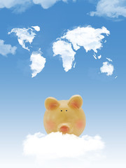 Piggy bank on cloud with world map shape clouds