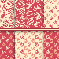 Set of seamless vector patterns with gift boxes in yellow and re