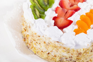 Fresh fruit flan cake with cream