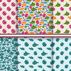Set of vector seamless sea patterns with fish, shell, submarine