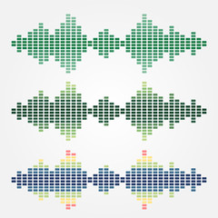 Set of vector sound waves (spectrums) icons made with cubes