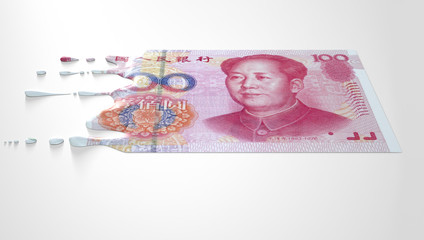 Chinese Yuan Melting Dripping Banknote