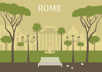 Park in Rome. Vector