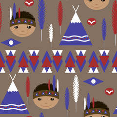 Seamless kids cute American indian native retro pattern