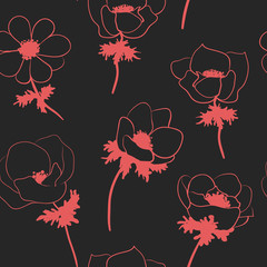 Seamless pattern with anemon flowers