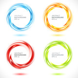 Fototapety Set of abstract swirl circle bright background