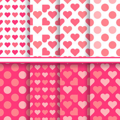 Vector set of seamless romantic love patterns made with hearts a
