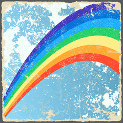 Abstract grunge background with rainbow. Vector