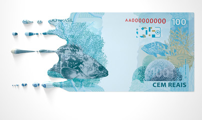 Brazilian Real Melting Dripping Banknote