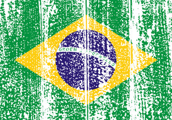 Brazilian grunge flag. Vector illustration.