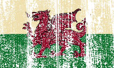 Welsh grunge flag. Vector illustration.