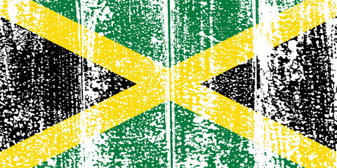 Jamaican grunge flag. Vector illustration.