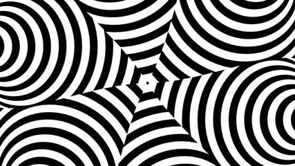 Black and white circles shifting to warped hexagon