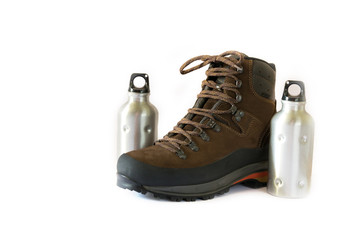 hiking boot with two water bottles