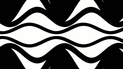 Black and white wavy zooming eye pattern
