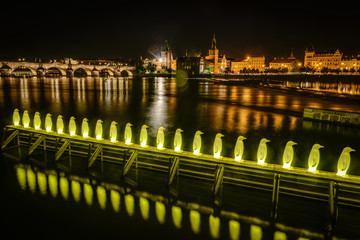 Penguins-lights on Vltava river in Prague