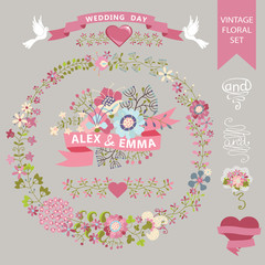 Wedding floral set. Wreath,flowers,ribbons,hearts