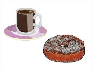 "frittella ""graffa"" e tazza di caffè"