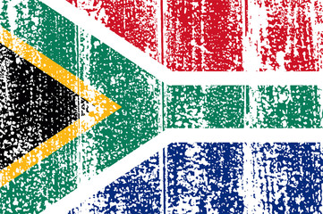 South Africa grunge flag. Vector illustration.